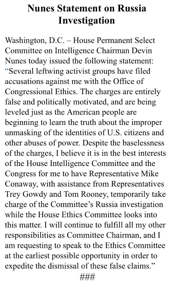 Devin Nunes stepping down from leading house intel probe on Russia ...